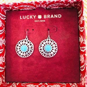 Lucky Brand Turquoise Silver Tone Earrings
